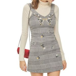 Embroidered Gingham Pinafore Dress from Topshop